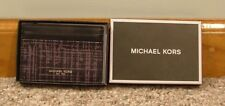 Michael Kors Men's Warren Leather Card Case W/ Money Clip Grey