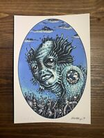 Emek Aqua Man Art Print Mini Handbill Signed Embossed Pearl Jam 9 X 6.25 Inches