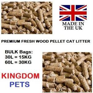 CAT LITTER WOOD PELLETS PREMIUM ABSORBENT PINE PELLET 30L 15KG 60L 30KG BULK BAG
