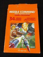 Original Atari 2600 Missile Command Video Game Cartridge Box