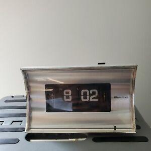 Vintage 70s Bulova Mid Century Flip Clock Alarm Working Model B-5410