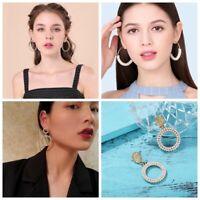 Fashion Round Crystal Pearl Circle Drop Dangle Earrings Women Jewelry 4Styles
