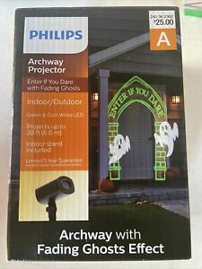 Philips Green Archway Flying Ghost Enter If You Dare Halloween Projector LED 674