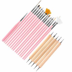 20 Pcs Nail Art Tool Set 2-Way Wooden Dotting Painting Pen Drawing Polish Brush