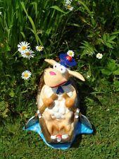 Dekofigur Schaf im Boot Deko Gartenteich Gartenfigur 50 cm