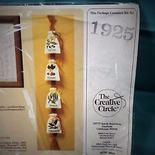 Embroidery Kit 4 Kitchen Spice Sacks The Creative Circle #1925 Vtg Unopened NOS