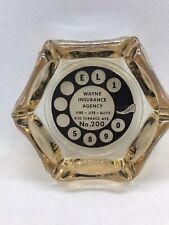Vintage Ashtray Wayne Insurance Agency 6 Cigarette Slots Tobacciana Dial