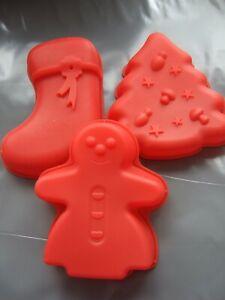 """3 x 5"""" Silicone Mould Xmas Cake Tin, Christmas Tree,Snowman,Stocking Pan/ Form"""