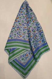 """VERA NEUMANN Vintage SCARF green lavendar Birds  25.5 X 25.5"""""""