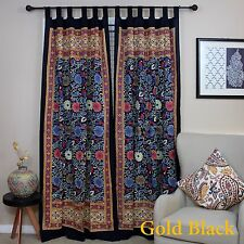 Handmade Cotton Sunflower Tab Top Curtain Drape Panel Yellow Black 44x88 Inches