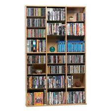 Media Storage Organizer Cabinet Rack Shelf Multimedia CD DVD Maple Brown Wood