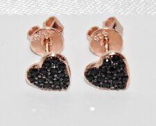 9ct Rose Gold on Silver Black Diamond Heart Stud Earrings