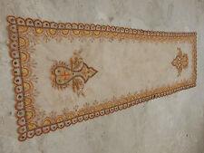 VINTAGE Ricamato bellissimo tavolo Netto Copertura Muro Appeso 149x48cm N3