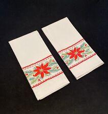 Pair Vintage NOS Embroidered Christmas Tea Towels Handmade Linen Poinsettia