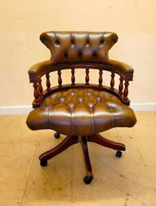 Tan/Brown Leather Chesterfield swivel Captains Chair - CS N44