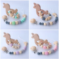 Beech Unicorn Bracelet Wood Silicone Beads Baby Teething Pacifier Chain Clip Set