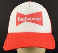 Budweiser King of Beers White Red Mesh Trucker Baseball Hat Cap Adjustable