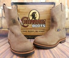 CHIPPEWA 20076 MEN'S CHOCOLATE APACHE LEATHER STEEL TOE BOOTS SIZE 10.5 D USA
