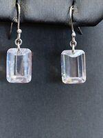 Vintage Sterling Silver Large Emerald Cut Cubic Zirconia Pierced Earrings