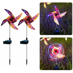 Solar Wind Spinner Windmill Outdoor Garden Ornaments Lights LED Colour Changing