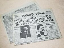 The New York Times Saturday Nov 23 1963 John F Kennedy is killed by sniper