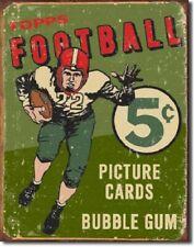 New Topps 1956 Football Picture Cards and Bubble Gum Decorative Metal Tin Sign