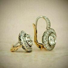 4. Ct Round Diamond Art Deco Antique Vintage Halo Earrings 14K White Gold Over