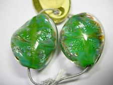 Spectacular! Lampworked Boro Glass Twist Oval Focal Beads PAIR (2 beads)