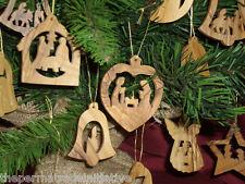 8 Handmade Palestine Holy Land Bethlehem Olive Wood Various Tree Ornaments 5cm