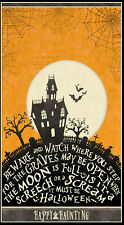"""Halloween Haunted House Moon Cotton Fabric Wilmington Sit A Spell 24""""X44"""" Panel"""