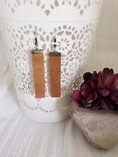 Rustic Brown / Leather Bar Earrings / Boho Style / Lightweight / Minimal