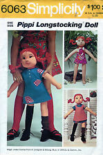 6063 UNCUT VINTAGE PIPPI LONGSTOCKING DOLL MAKING Pattern + OUTFITS Simplicity