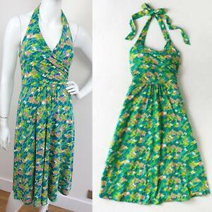 Boden Halterneck V Neck Green Geometric Print Fit Flare jersey dress 10 a line