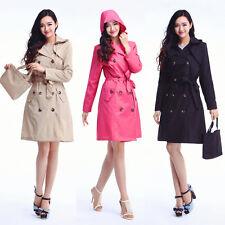 Luxury Womens Lady Solid Hooded Waterproof Long Sleeve Raincoat Poncho Rain Coat