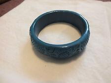 "Beautiful Bangle Bracelet Dark Turquoise Embossed Sunflower Plastic 7/8"" Wide"