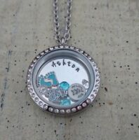 Mother necklace personalized floating charm locket jewelry baby Boy shower Gift