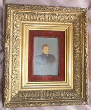 Cadre XIXème bois & stuc doré avec photographie peinte signée Louise DUGARDIN