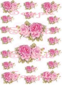 Shabby Roses Pink Pair  Waterslide Decals