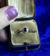 Classic Vintage 9Ct Gold Sapphire & Diamond Set Cluster Ring