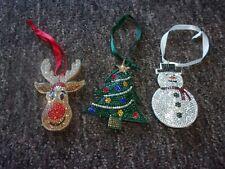 X3 SPARKLEY HANGING CHRISTMAS  DECORATIONS. SNOWMAN, TREE & REINDEER