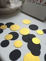200 BLACK AND GOLD CIRCLE TABLE CONFETTI WEDDING PARTY HEN NIGHT BIRTHDAY
