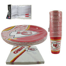 New NFL Kansas City Chiefs 80pc Paper Plates Cups Forks Napkins Party Supplies
