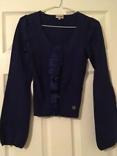 Karen Millen purple bell sleeves and ribbon ruffle size 1 UK size 8