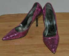 Guess Hot Pink Glitter Party Kitten 4 inch Heel Prom Stiletto Shoe Women 8 Size