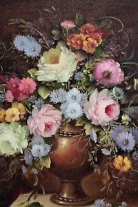 Vintage Oil Painting Still Life Flowers Dutch Baroque Gilt Wood Frame /Signed