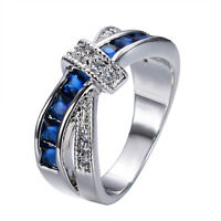 Blue Sapphire CZ Criss Cross Band Wedding Ring 10KT White Gold Filled Size 6-10