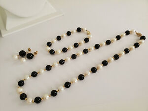 14K Gold Genuine Pearls Black Stone Beaded Necklace Earrings & Bracelet Set