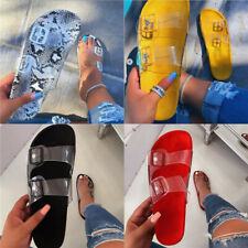 Summer Women Perspex Flat Slippers Slip On Beach Pool Sandals Casual Clear Shoes