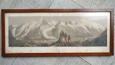 Mont Blanc Lithographie la flechere Chamonix dessin Deroy,lith.par Müller.1850