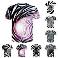 Men's Summer Vertigo Hypnotic 3D Print T-Shirt Short Sleeve O-Neck Top Tee